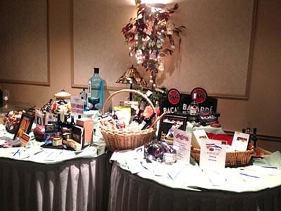Table showing prizes at fundraiser