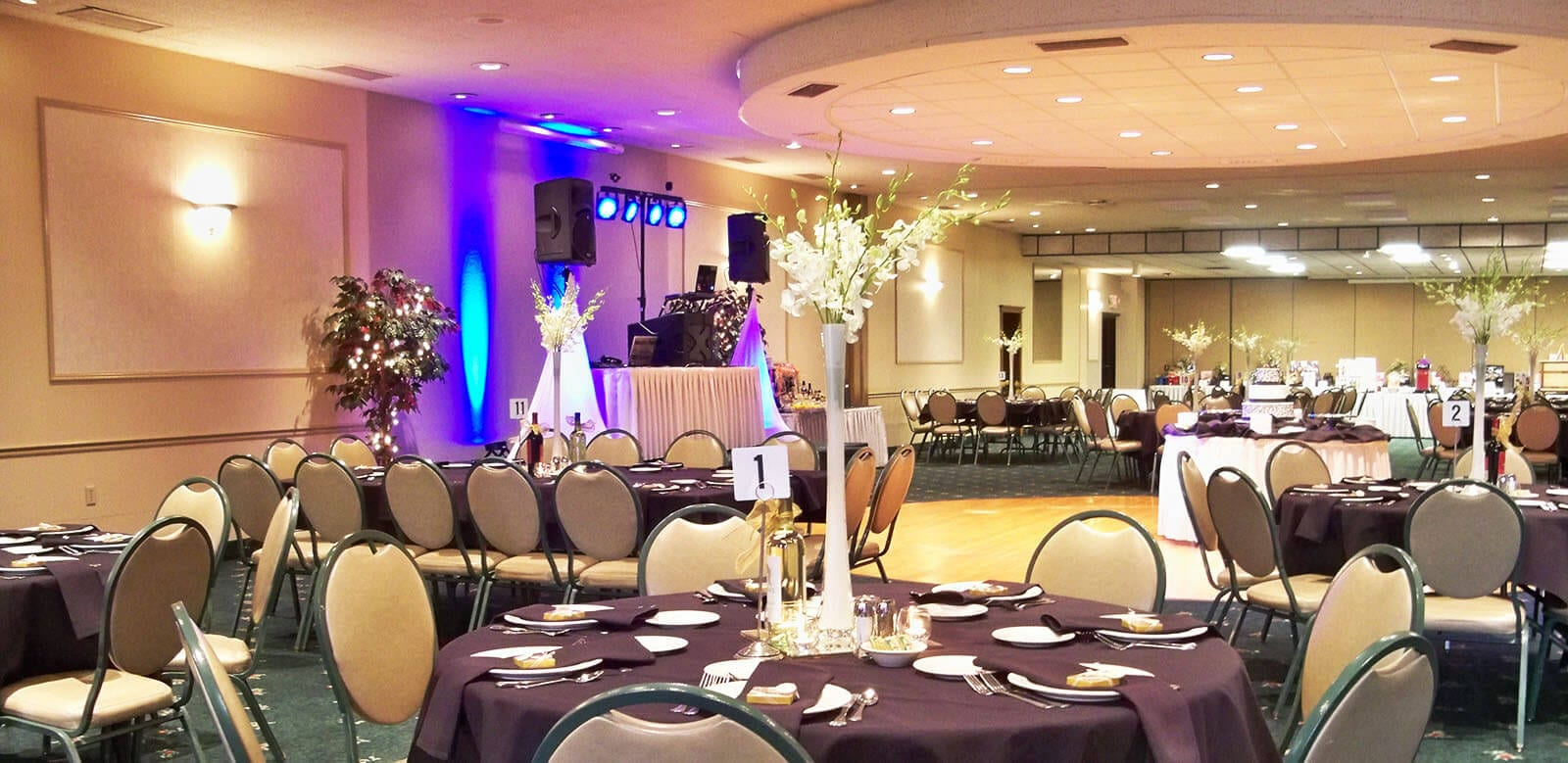 Patrician Party Center - set up for a Sapphire wedding package