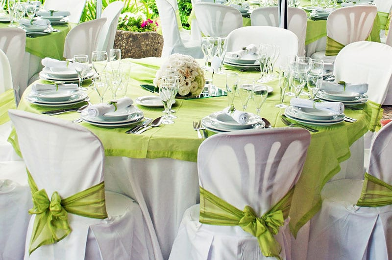 Green-themed linens