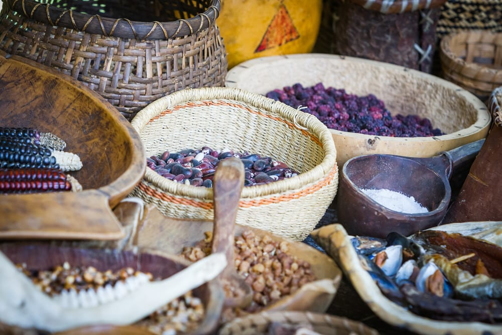 Native American Food In Baskets At A Market