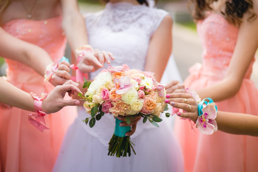 Coral themed bridesmaid dresses